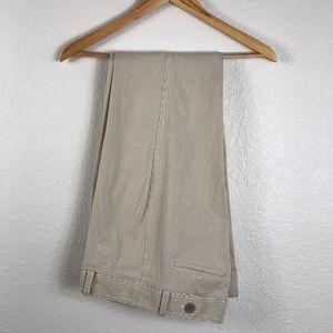 Cream Striped Wide Leg Dress Pants